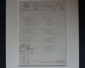 Antique Christmas Carol Print - Sheet Music - Available Framed - Carol Singing - Seven Joys Of Mary - Virgin Mary - Catholic Gift - Xmas Art
