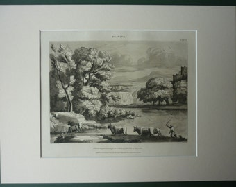 1820 Antique Claude Lorrain Print of a Countryside Landscape Antique Baroque decor, beautiful country art, Aquatint Print, Old Rural Gift