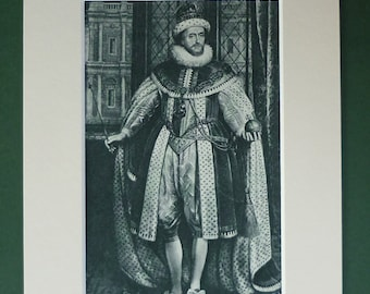 Original 1944 James I Print - King Of England - Divine Right - Portrait - Matted - Oil Painting - Paul Von Somer