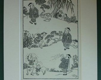 Antique 1920s Children's Matted Print of a Chinese Wizard Casting a Spell by CEB Bernard