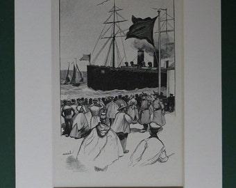 Matted Edwardian Steamship Print - Steam Ocean Liner - Ship - Docks - Black Flag - Mounted - Nautical - Maritime - Antique - Dockyard