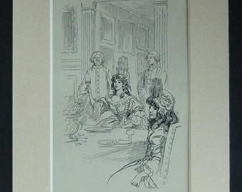1905 Antique Hugh Thomson Print of a Dinner Party Toast, Regency Picture, Birthday Gift, Wine Drinking Wall Art, Available Framed Dining Art