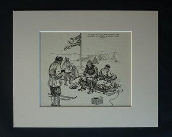 1930s Antique Polar Expedition Print, Available Framed, Exploring Art, Captain Scott Decor, South Pole Gift Antarctic Adventure Illustration