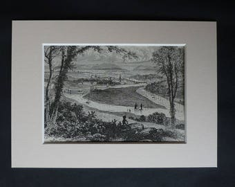 1880s Victorian Matted Illustration of Perth Scotland