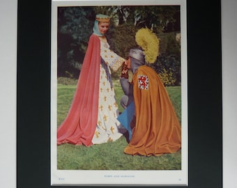Original 1950 Print Of Maid Marian & Robin Hood - Rogues Of Sherwood Forest - Vibrant Colour - Film - Movie - Matted - Photograph - Vintage