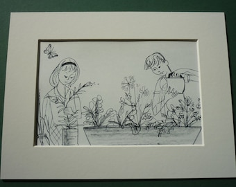 """1961 Lithograph Print - Winifred Lubell - 8"""" x 6"""" - Nature - Flowers - Butterfly - Vintage - Retro - Natural - Boy - Girl - Gardening"""