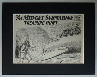 Vintage 1950s Boys' Adventure Print, Deep Sea Diving Gift, Scuba Diver Decor, Antique Submarine Wall Art, Available Framed, Exciting Art