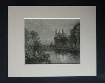 1880s Victorian Picture of Eton College as seen from the River Thames