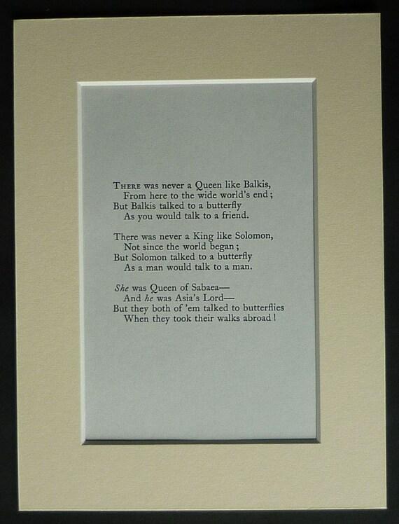 Vintage Rudyard Kipling Drukować Wiersz Tak Stories O Motyle Queen Of Sheba Wystrój Drukuj Poezji Króla Salomona Dar Poezji