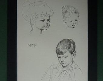 1941 Vintage JH Dowd Print - Handsome Younng Men - Portrait - Pen Sketch - Pencil Art Print - Boys - Children - Life Drawing - Figure