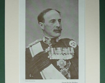 Original 1919 Print Of General Ian Hamilton - WWI - First World War - Matted - Sepia - Great - One - Military Uniform - Portrait