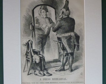 1860s Antique Satirical Print of the Quaker John Bright Punch political satire cartoon, Victorian caricature art - Old British History Gift