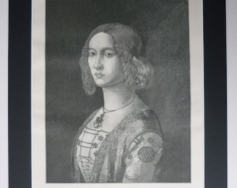 Antique 1898 Print Of Ginevra Dei Benci - Domenico Ghirlandaio - Engraving - Black & White - Renaissance Art - Matted - Portrait - Fresco