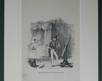 1870s engraving of The Spectre of Tappington from The Ingoldsby Legends - skeleton - ghost - antique - horror