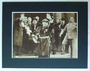 1930s Antique French Political Matted Sepia Picture of the Assassination of Radical Party President Paul Doumer