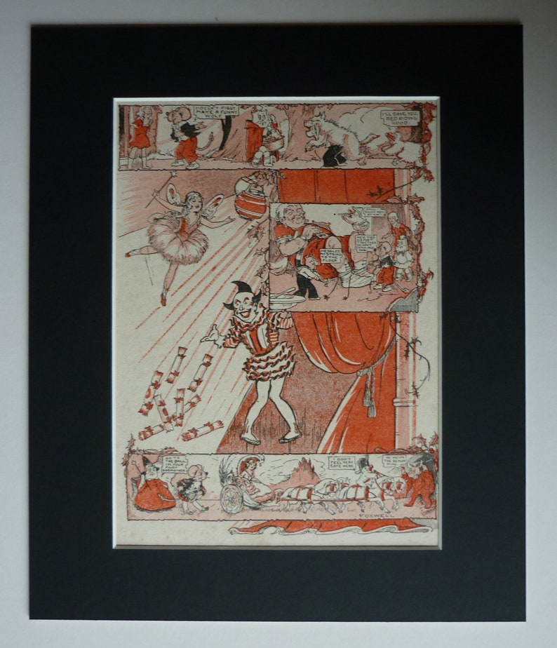 Vintage Fairy Tale Comic Print showing Cinderella and Red Riding Hood,  1930's Fairy Illustration for Nursery