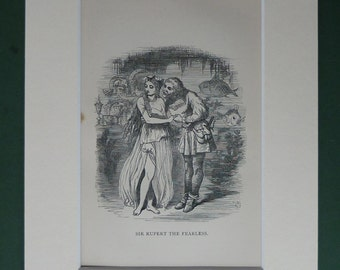 Antique 1879 Ingoldbsy Legends Print - Sir Rupert The Fearless - Underwater - Princess - Mermaid - Kiss - Love - Matted - Black & White