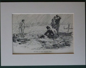Antique Victorian Charles Dickens Print from 'Our Mutual Friend' Marcus Stone artwork, the bird of prey brought down - Dickensian Gift