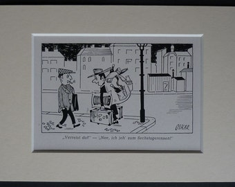 1950s German Political Satire Cartoon by Oskar Vintage Cold War era comic book art, vintage satirical picture - Available Framed German Art
