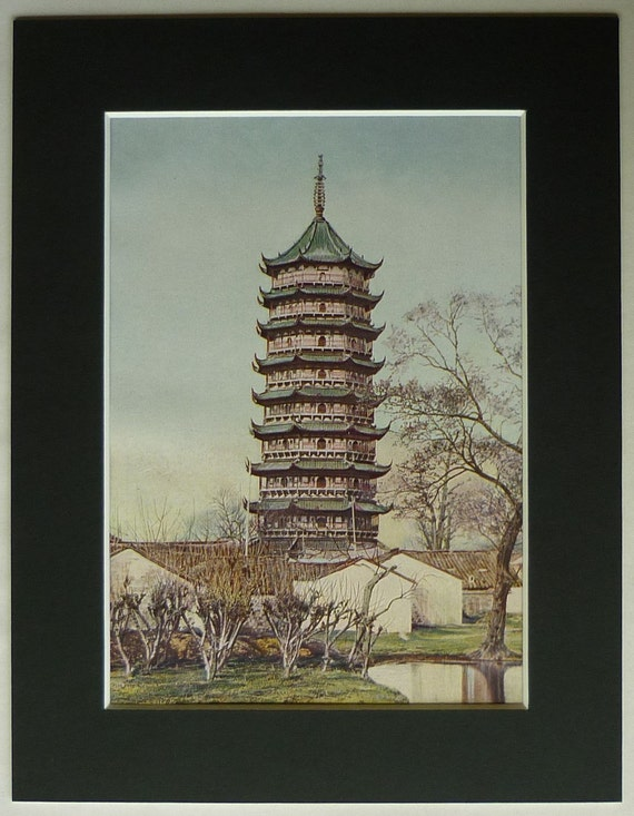 Pagoda Pal-lou Canton Merchant House World Architecture gift for architect Chinese Architecture 1924 drawing print Emperor/'s Palace