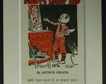 Retro 1940s Percy Pig Print Bobby Bear children's art, painting artist decor - Available Framed - Nursery Art - Vintage Pig Print - Pig Gift