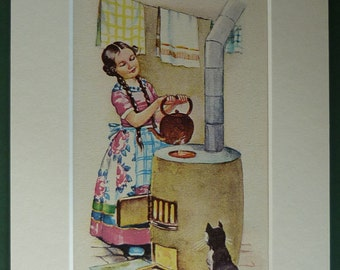 1940s Vintage Children's Print of a Girl Heating a Kettle on her Stove Beautiful nursery decor, rustic childhood art - Vintage Kitchen Decor