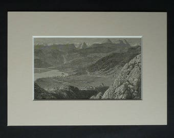 1880s Antique Mounted Scottish Picture of Slattadale Forest by Loch Marnee