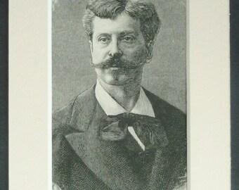 1880s Antique Portrait Print of Alphonse de Neuville, Victorian Gentleman Decor, Available Framed, French Art, Military Artist Gift Mustache