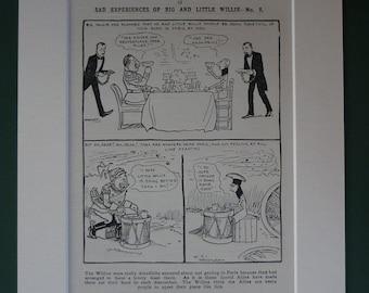 Original 1914 Propaganda Cartoon - Comic Strip - World War One - Military - Print - Political Satire - WWI - Matted - Kaiser Wilhelm - Firs