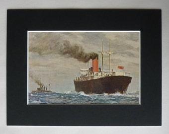 1914 Antique Nautical Print, Maritime Gift, Sea Decor, Passenger Ship Wall Art, Available Framed, Steamship Art, Norman Wilkinson, Ship Gift