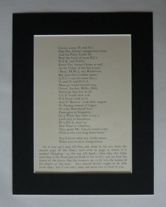 1902 Antique Rudyard Kipling Print Poetry Gift Just So