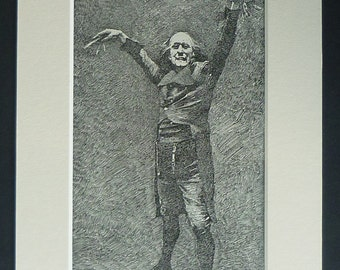 1880s Antique Print of Le Docteur Miracle Played by Emile-Alexandre Taskin, French Opera Decor, Available Framed, Theater Art, Georges Bizet