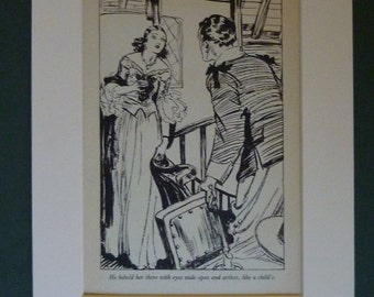 Vintage 1936 Romantic Print - Love - Romance - Attraction - 1930s - Art Deco - Matted - Mounted Ready To Frame - Gift - Black & White
