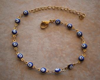 HI QAULITY EVIL Eye Gold Tone Stainless Steel Royal Blue Blue round 6mm bead bracelet greek Charm Nazar Turkish beads Greece judaica hamsa