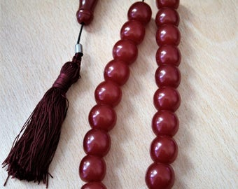 LARGE Turkish red Tasbih Greek KOMBOLOI Tesbih kabbalah nazar hamsa handra worry beads prayer ЧЕТКИ