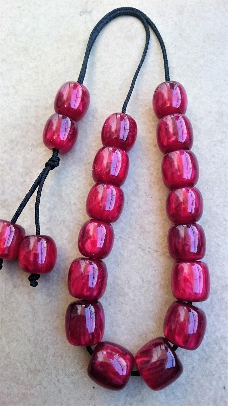 LARGE CHERRY RED Worry Beads Greek Komboloi Tesbih kabbalah image 1