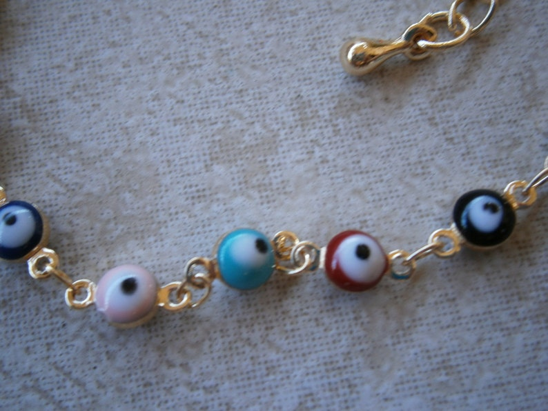 GREEK EVIL EYE Silver /& Gold Tone Baby Blue Color Rainbow round 6mm bead bracelet Charm Nazar Mati Turkish beads Greece judaica hamsa