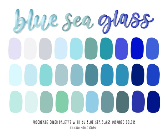 Blaue Farbpalette Fur Procreate Meer Schaum Turkis Blaue Etsy