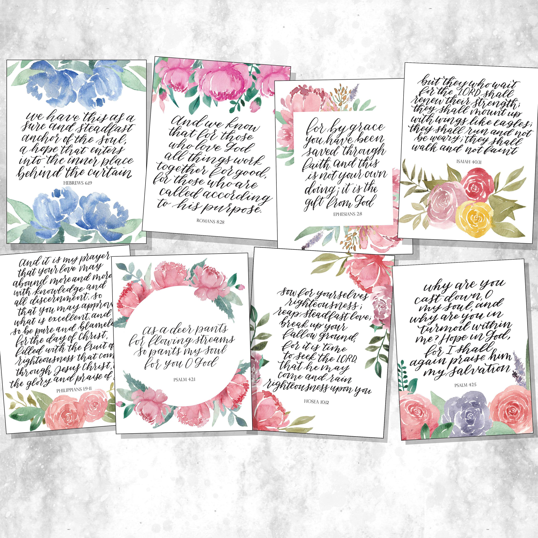 Printable ESV Scripture Cards, Watercolor Floral Bible Verses, Handlettered  Scripture, Memory Verse Cards