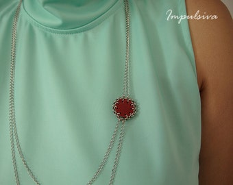 Multi-chain silver necklace with leather circle, Leather N Chain necklace,  Gift