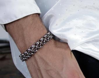 Silver Chain Bracelet, Linked Chain Bracelet for Men, Statement Chain Bracelet, Handmade Gift for Men