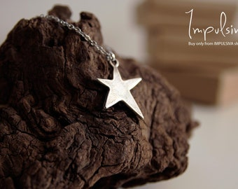 Boho Star Necklace, Silver Star Charm, Dainty Stainless Steel Necklace, Star Jewelry, Handmade Gift