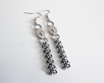 Geometric Silver Chain Drop Earrings, Weave Chain Earrings, Long Chain Earrings, Handmade  Gift