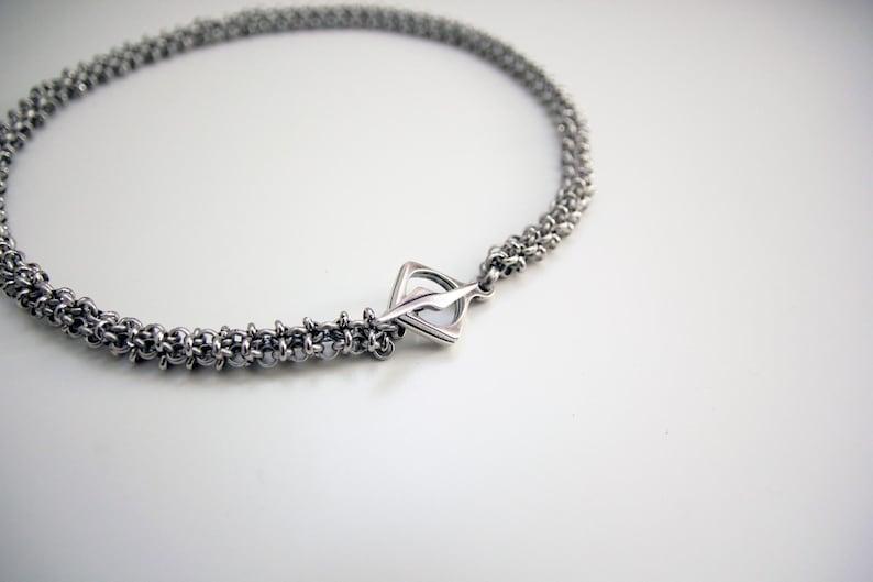 Silver Chunky Necklace Lightning Linked Necklace Rock Style image 0