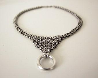 Silver O-RING Collar, Triangular Drop Collar, Bondage BDSM Inspired Collar, Submissive Day Collar, Mad Max Jewelry, Halloween Gift
