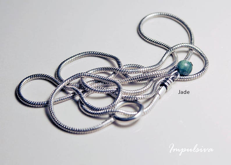 Lariat silver sterling snake necklace with semi-precious gemstones