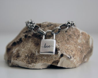 Lock Chain Link Necklace, Lock Chain Layering Necklace, Padlock Necklace, grunge jewelry