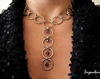 Circle Loops with Gemstones Drop Necklace, Y Shaped Loops Necklace, Game of the Thrones Inspired Necklace,  Gift
