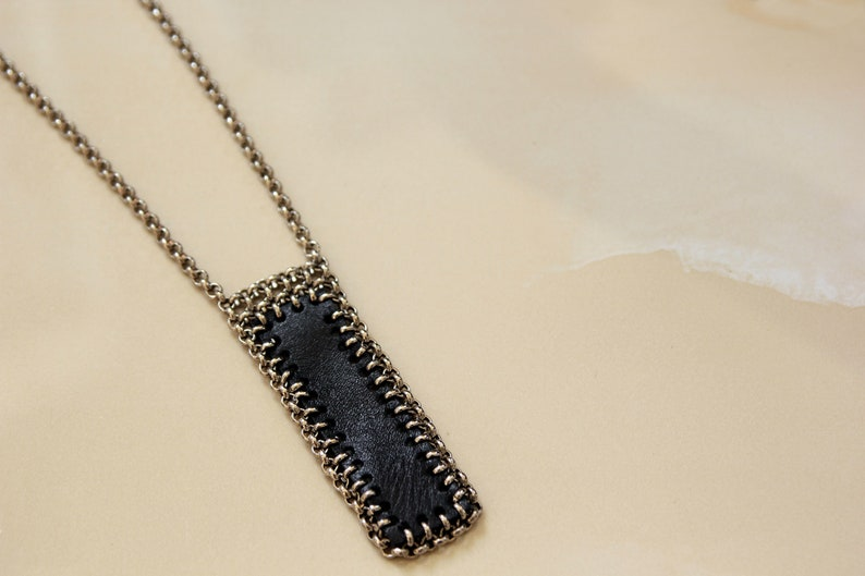 Black Jewelry Mother/'s day Gift Minimalist Modern Leather Necklace Leather Bar Necklace Long Necklace