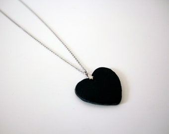 Heart necklace, Long leather heart shape pendant necklace, Minimalist leather necklace,  Gift